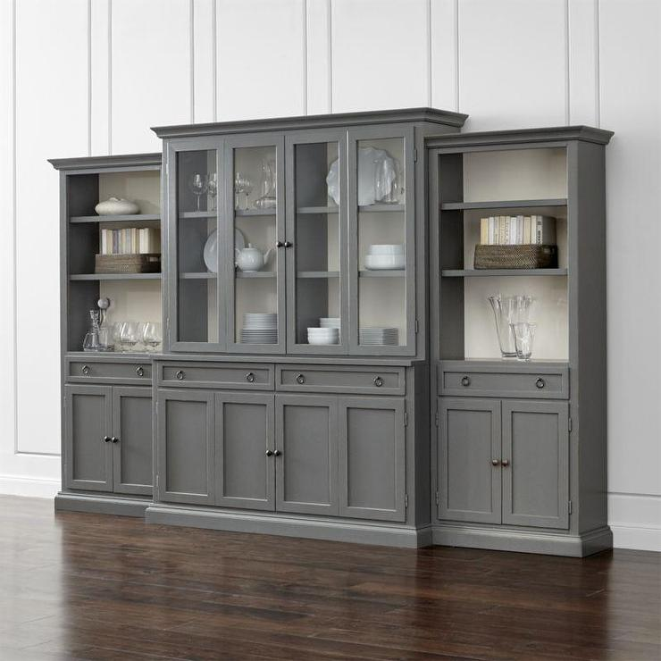 Four Piece Gray Glass Door Wall Unit