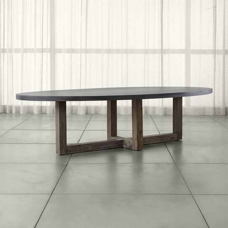 Gray Wooden Base Oval Dining Table