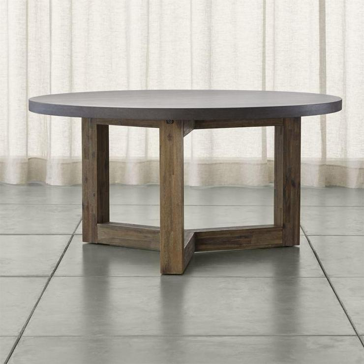 Gray Wooden Base Round Dining Table