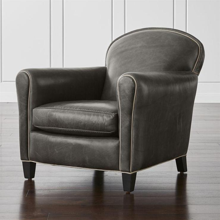 Dark Gray Rounded Arms Leather Chair