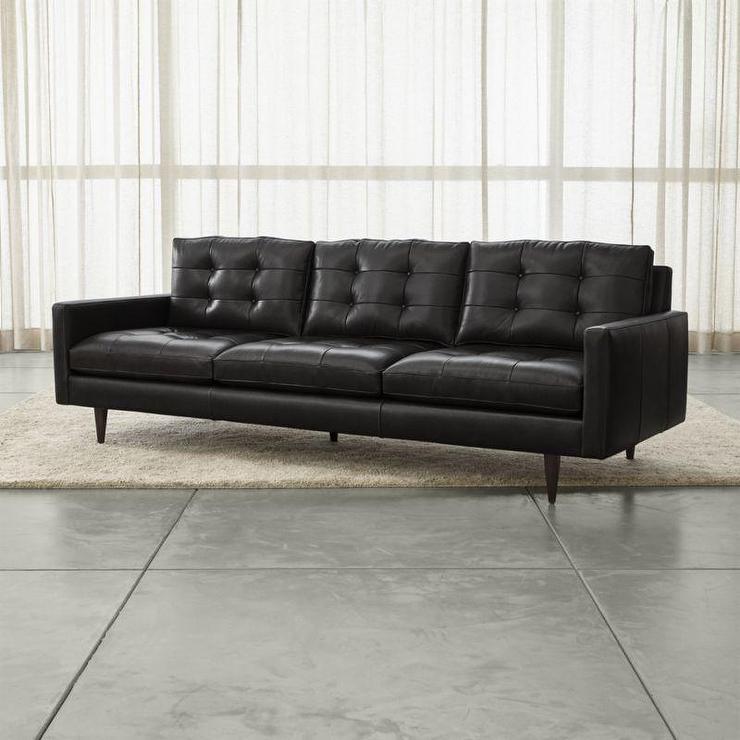 black leather recamier sofa i horchow. Black Bedroom Furniture Sets. Home Design Ideas