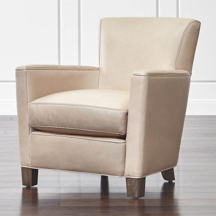 Upholstered Club Chair   Beige Leather Upholstered Club Chair