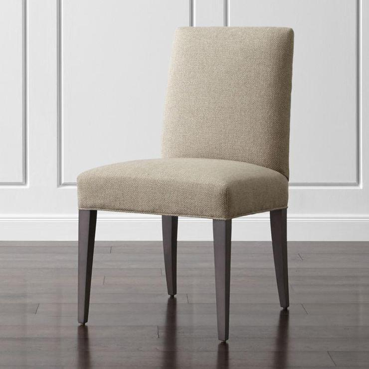Beige armless upholstered dining chair for Upholstered dining chairs