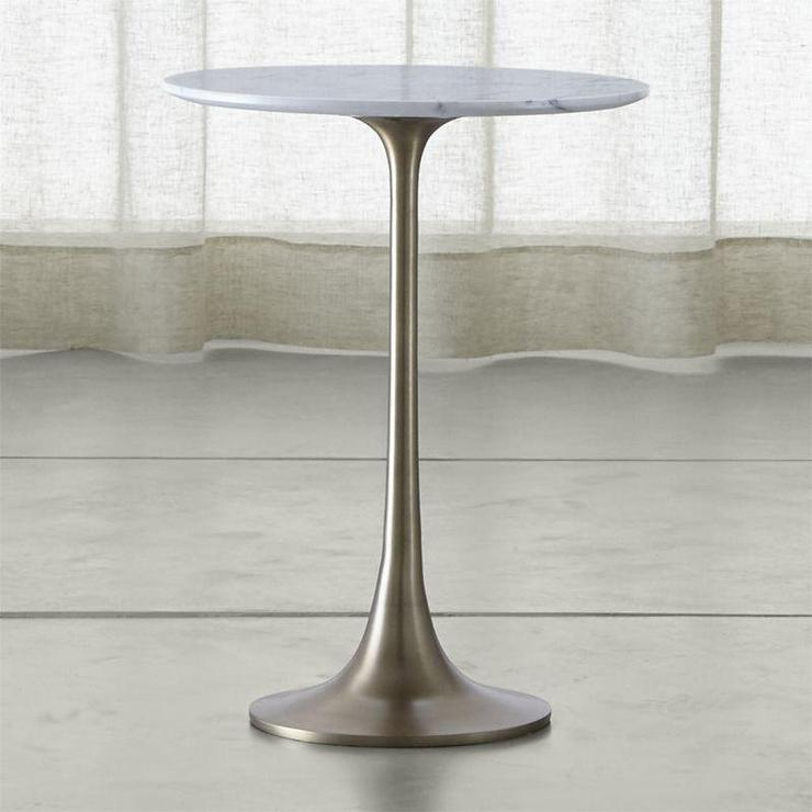 Round White Marble Pedestal Accent Table