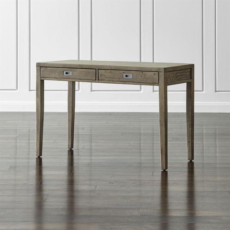Gray Reclaimed Wood Two Drawer Desk - Reclaimed Wood Two Drawer Desk