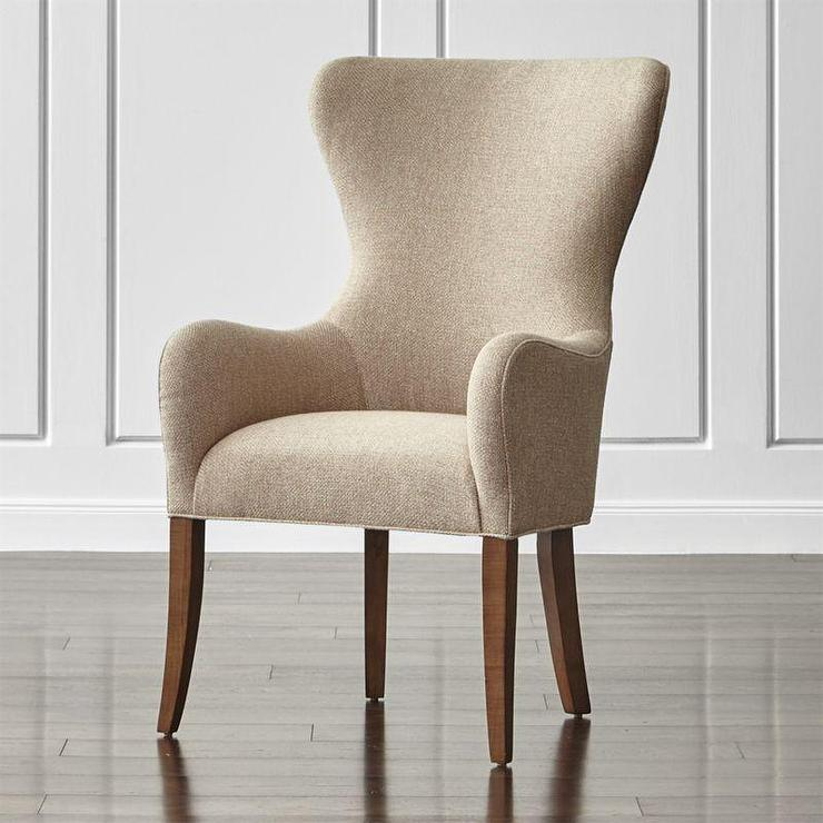Beige Woven Wingback Dining Chair