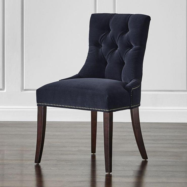 navy velvet armless dining chair