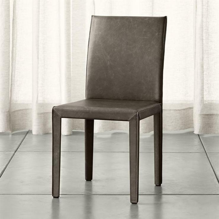 Gray armless leather parson dining chair for Leather parsons dining chair