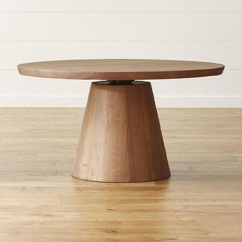 Brown Round Adjustable Height Dining Table