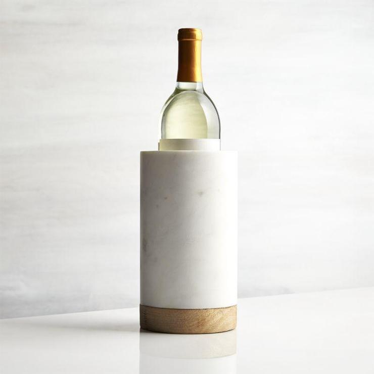 Wood And White Marble Wine Cooler