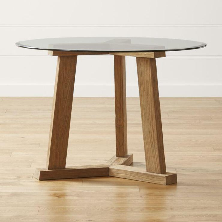 Glass Reclaimed Wood Round Dining Table