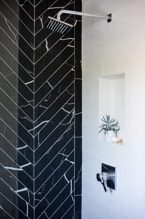 Shower With Square Tiles Transitional Bathroom