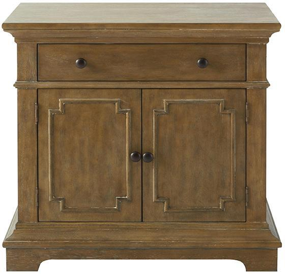Embossed White Metal 2 Drawer Bedside Table