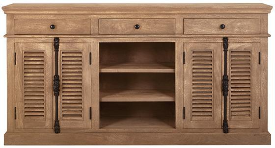 Louvered Doors Wooden Buffet