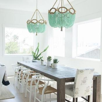 Big Sur Charcoal Dining Table With Mint Green Beaded Chandeliers