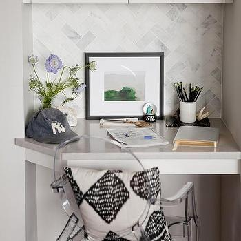 small corner kitchen desk with ghost chair - Small Kitchen Desk Ideas