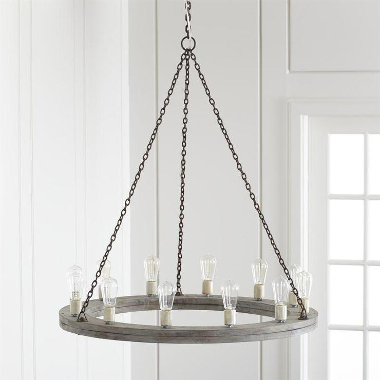 Gray round wood rustic chandelier for Round rustic chandeliers