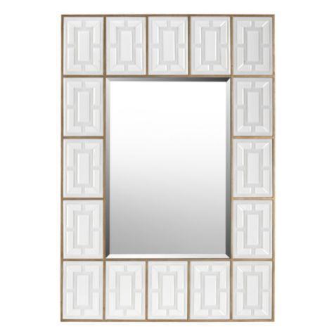 Opaque White Glass Tiles Framed Mirror