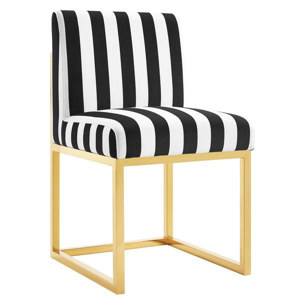 Black And White Stripe Velvet Armless Chair