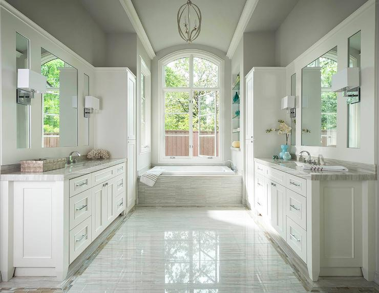 White and Gray Master Bathroom with Face to Face Washstands ...
