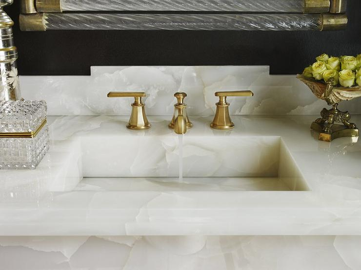 White Onyx Countertop With Brass And Glass Mirror