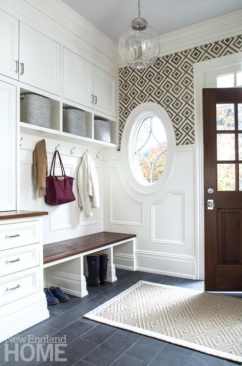 White And Brown Mudroom With Gray Ceiling Transitional