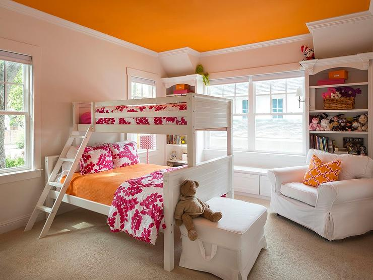 Pink And Orange Girls Bedroom With Orange Ceiling