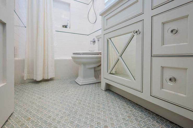 Gray Bathroom With Blue And Gray Geometric Glass Tile