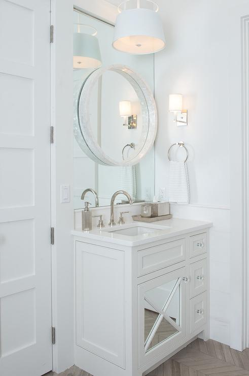 Gray Bathroom Features A A White Round Convex Mirror Layered Atop An Inset  Mirror Over A Gray Washstand Fitted With A Glass Front Door Adorned With  Glass ...