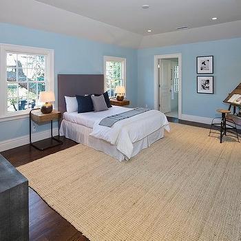 Blue Boy Bedroom With Corner Vintage Architect Desk And Stool