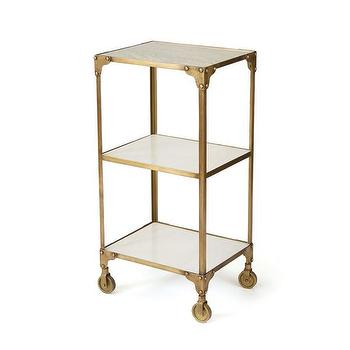Vintage Gold Iron Roller Side Table