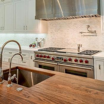 Butcher block prep island with sink transitional kitchen - Small butcher block island ...