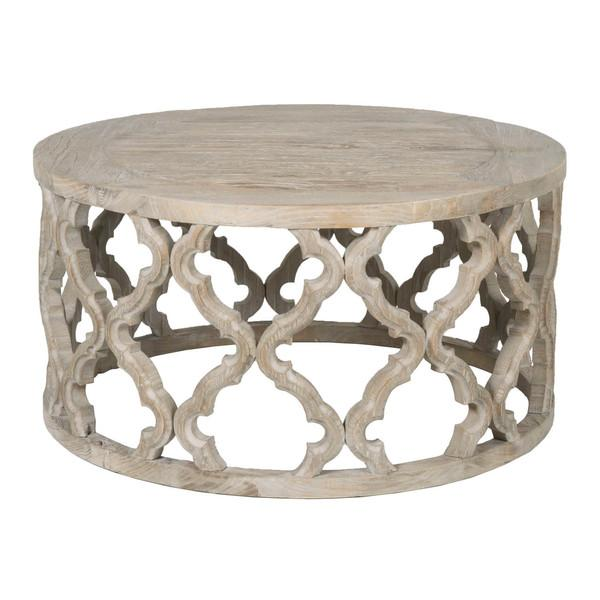 Fretwork Coffee Table.Gray Washed Open Fretwork Wood Coffee Table