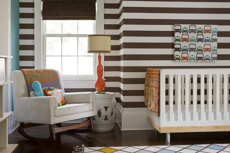 brown and orange boy nursery with brown striped walls contemporary nursery. Black Bedroom Furniture Sets. Home Design Ideas
