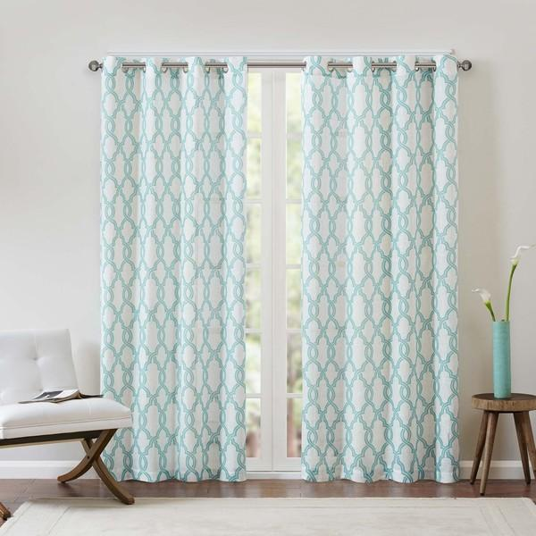 and White Textured Fretwork Printed Curtain Panel
