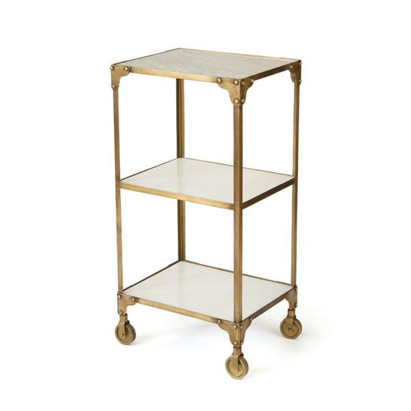 Vintage Gold Iron Roller Side Table View Full Size