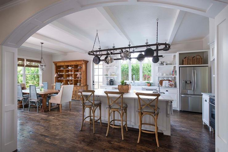 Oval Pot Rack Over Center Island Transitional Kitchen
