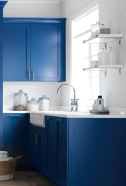 Blue Laundry Room With Ikea Wall Shelves Contemporary