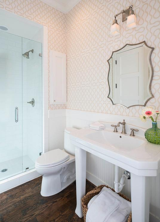 Westwood Squiggle Wallpaper Covers The Wall Of This Classic White And Tan  Bathroom Featuring A Built In White Medicine Cabinet Placed In A Wall  Adjacent To ...