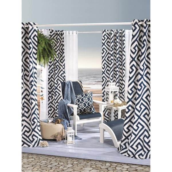 black greek key print curtain panel