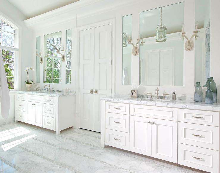 Master Bathroom Floor Tile master bathroom with bi fold doors and mosaic marble floor tiles
