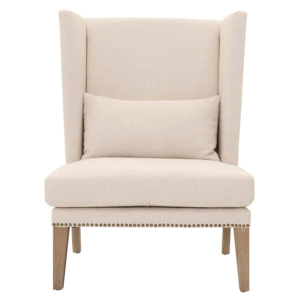 Delightful Off White Winged Club Chair View Full Size