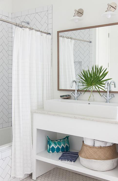Beach Bungalow Bathroom With Trough Sink And Two Faucets Cottage