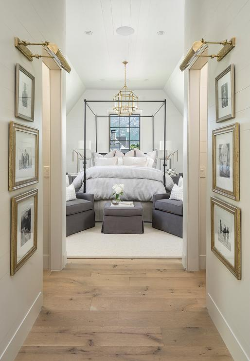 Gunmetal gray bedroom built ins with polished nickel - Interiors by design picture frames ...