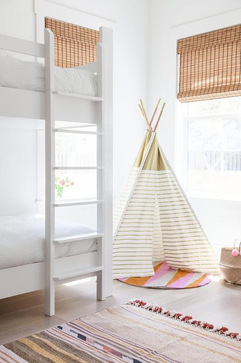 Girls Bedroom with Gold Striped Teepee & Girls Bedroom with Gold Striped Teepee - Transitional - Girlu0027s Room