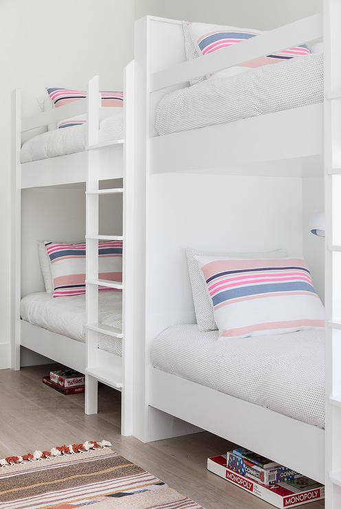 White Girls Bunk Beds With Pink And Blue Striped Pillows Transitional