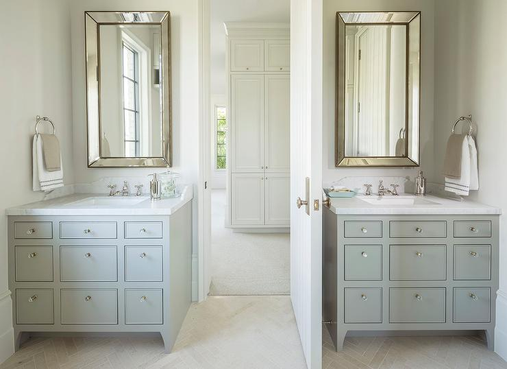 Mirrored Bathroom Cabinet Double Doors Bath Wall Mounted Storage Furniture White: Gray Apothecary Style Washstands With Beaded Beveled