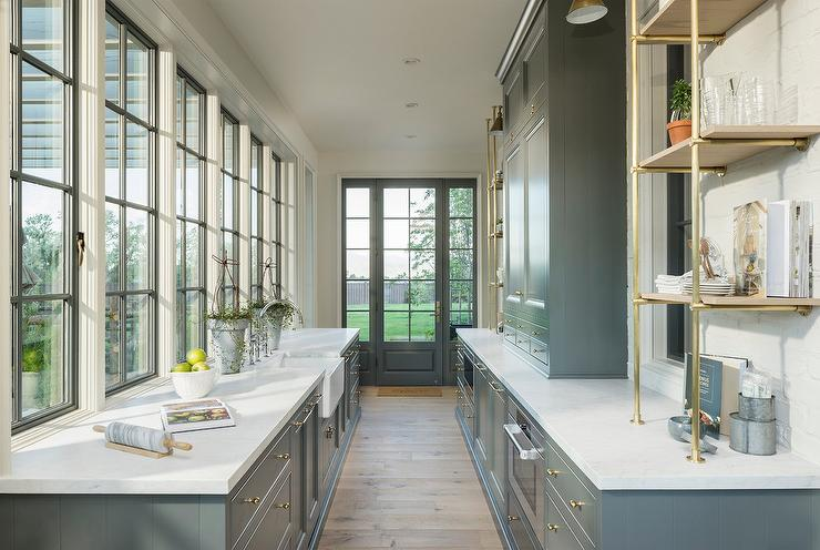 Dark Gray Butlers Pantry Cabinets With Metal Mesh Cabinet