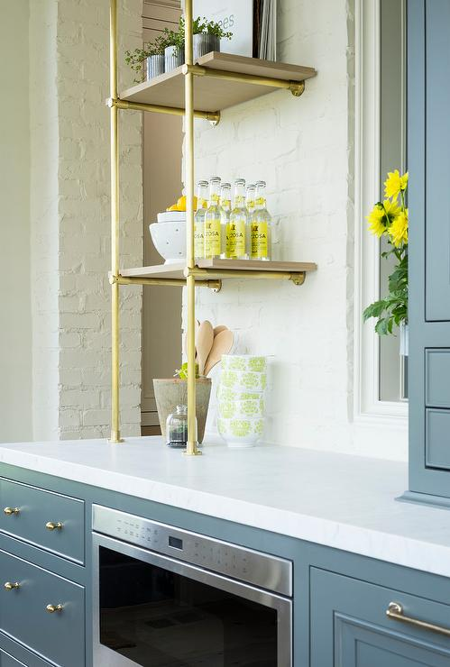 Gray Butler Pantry With Brass Pipe Shelves Transitional