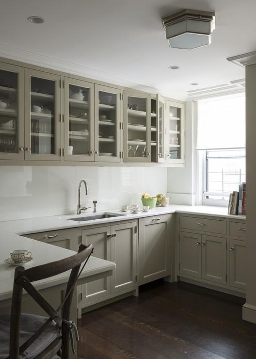 Small Gray Kitchen With Glass Door Cabinets Transitional Kitchen